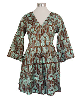 Chocolate-Mint Nouveau Kimono Dress by Tulle
